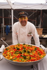 Sazon Restaurant's chef serves up Paella.