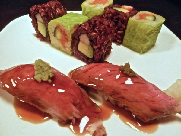 Ninja New York's Roast Beef Sushi, Colorful California Rolls and Spicy Tuna Roll (photo courtesy of Ninja New York)