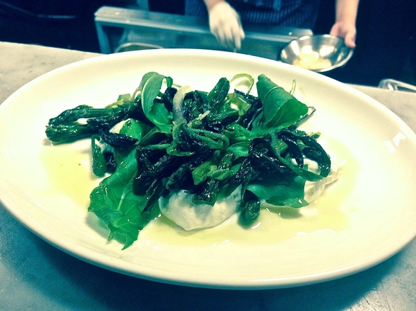 Telepan Local's Ramps with Asparagus, Wild Garlic, Lemon Ricotta and Sorrel (photo courtesy of Telepan Local)