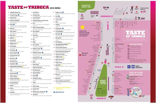 Taste of Tribeca Festival Area Map