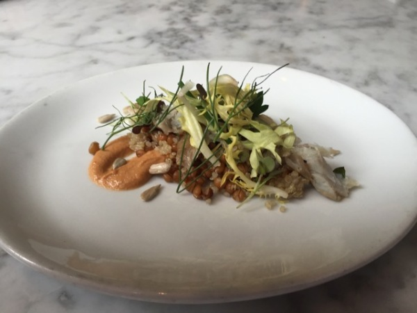 Almond: House Smoked Bluefish with Grain and Pickled Onions